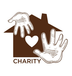 charity fund isolated icon house and human palms vector image