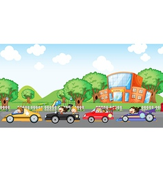 Children car racing vector