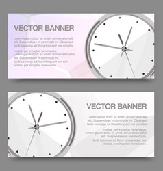 Clock realistic detailed set banners vector