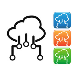 Cloud network connection button icons set vector