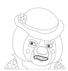 Clown angry outline vector