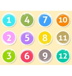 Colorful calendar circle labels month numbers vector