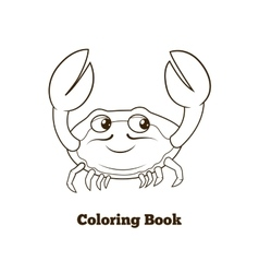 Coloring book crab cartoon educational vector image