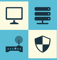 Computer icons set collection of router defense vector