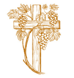 Cross and grape vine grape easter symbol of vector