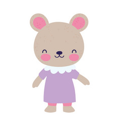 cute female bear with dress cartoon character vector image