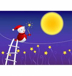cute snowman walking in sky vector image