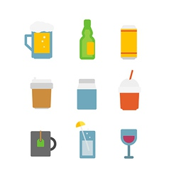 Different drinks icons set isolated on white vector image