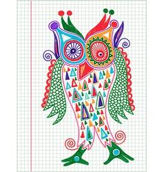 Doodle owl marker hand draw vector