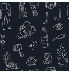Doodle seamless pattern of diving tools Vintage vector image