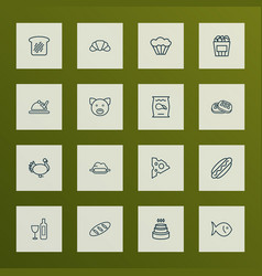eating icons line style set with waffle wine vector image