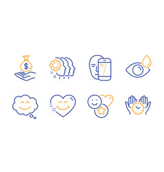 Employees teamwork income money and smile icons vector