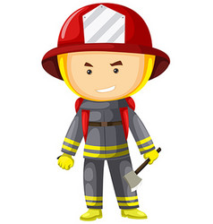 Fire fighter in protection suit vector