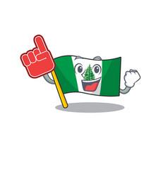 Flag norfolk island mascot cartoon style holding a vector