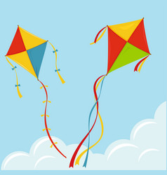 Fly kite in sky vector