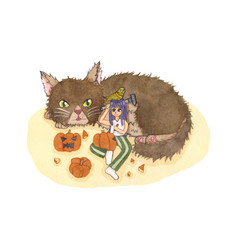 Girl carving pumpkin with cat and bird vector