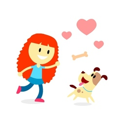 Girl Play Catch The Bone with Her Dog vector