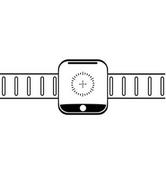 graphic drawing modern wrist electronic watch on a vector image