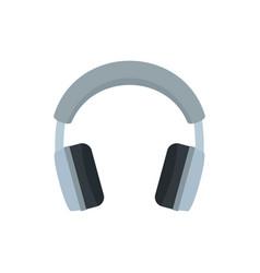Grey headphones icon flat style vector