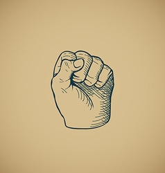Hand drawn sketch vintage fist vector image
