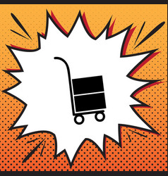 hand truck sign comics style icon on pop vector image