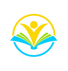 Happy learning book circle symbol design vector