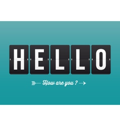Hello mechanical panel letters vector image vector image