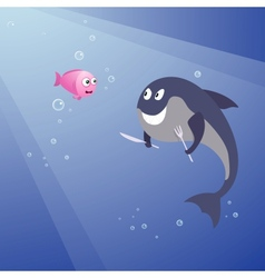 Hungry shark and little pink fish vector