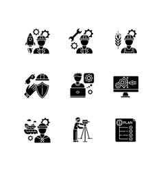 Industrial production worker black glyph icons vector