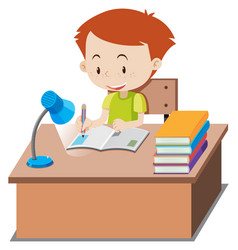 little boy doing homework on table vector image