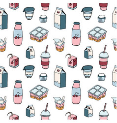 modern seamless pattern with dairy products drawn vector image