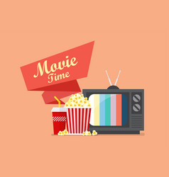 Movie time popcorn snack and drink with retro vector