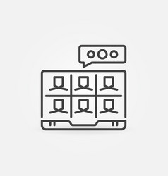 online communication via laptop outline vector image