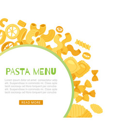 Pasta and macaroni menu banner with text and vector