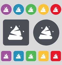 Poo icon sign A set of 12 colored buttons Flat vector