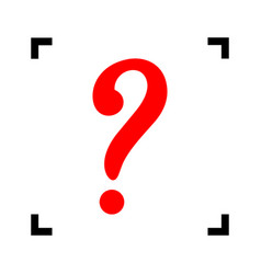 question mark sign red icon inside black vector image