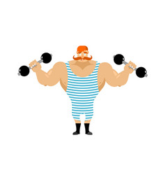 Retro athlete with red mustache vintage sportsman vector