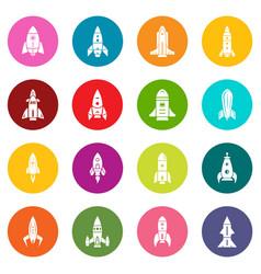 rocket icons set colorful circles vector image