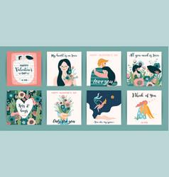 Romantic set of cute design vector