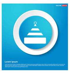 santa claus hat icon abstract blue web sticker vector image