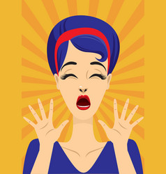 screaming vintage pin up girl vector image