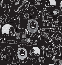 seamless animal pattern BLACK vector image