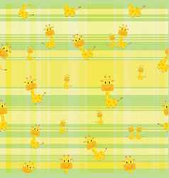Seamless background cute giraffe on colorful vector