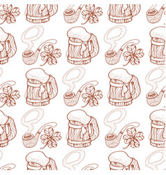 Seamless pattern with a pipe and a cup of foamy vector