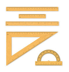 set measuring tools rulers triangles vector image