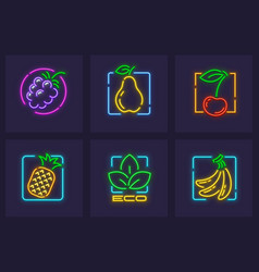 set neon icons fruits vector image