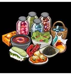Set of home cooking and canning vegetables vector