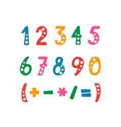 set of numbers and mathematical symbols vector image