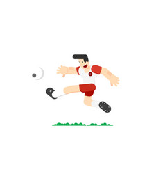 soccer player hits the ball vector image