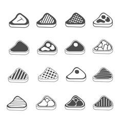 steak icons set vector image